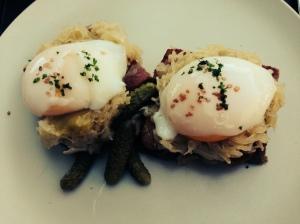 Eggs Benny, sunny side up at Hudson Kitchen